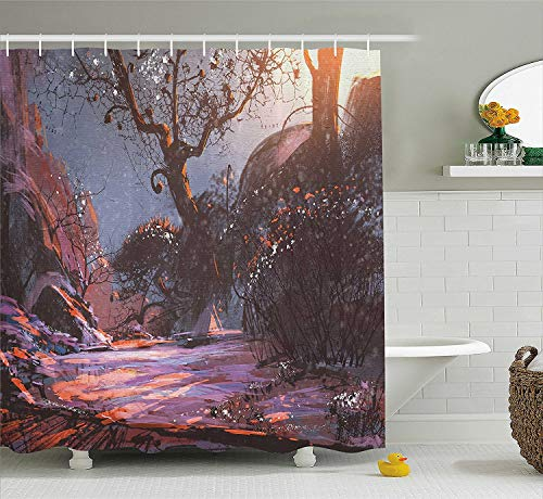 Jolly2T Winter Shower Curtain, Heaven Like Landscape Mystery Forest Rising Sun Oil Paint Style, Fabric Bathroom Decor Set with Hooks, 60x72 Inches, Light Pink Orange Dark Brown -