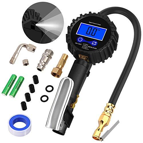 Poseca Manometro Digitale, 235 PSI Alta Precisa Pistola Gonfiaggio per Pressione Pneumatici di Auto Moto Biciclette con Schermo LCD