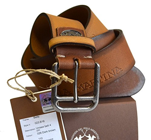 Cintura Pelle La Martina Uomo Men Belt Pelle 100% Leather Marrone 023B16 Size 110