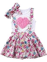 Haokaini Baby Sisiter Chaleco corazón + Diadema + Pantalones Cortos Florales/Falda de Liga, Ropa de Ropa de Fiesta Infantil de Verano Infantil Ocasional