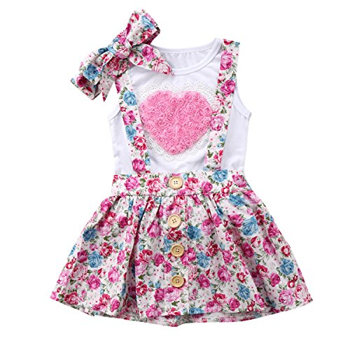 Haokaini Baby Mädchen Sisiter Herz Weste + Stirnband + Floral Shorts/Strapsrock, Sommer Infant Casual Party Playwear Outfits (Color : Big Sister, Size : 2-3T) -