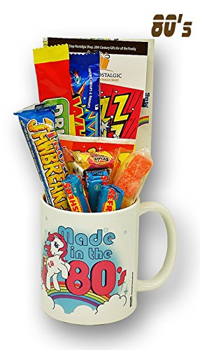 Made in The 80's Mug filled with a Selection of Retro Sweets