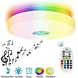 Lampe de Plafonnier Musique Intelligente 24W RGB, Couleur variable et dimmable , avec Haut-parleurs Bluetooth et Télécommande, pour Salle de séjou, Restaurant et chambre