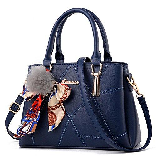 Damen-Handtaschen und Handtaschen Schultertasche große Tasche Top Griff Umhängetasche, Damen Leder Crossbody Taschen Größe mit Seide Schals, PU, dunkelblau, Normal -