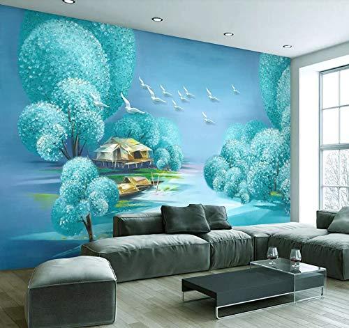 Fototapete 3D Effekt Tapete Handgemalter Blauer Baum Fliegender Vogel Ölgemälde Vliestapete 3D Tapeten Wanddeko Wandbilder Wohnzimmer,200cmX140cm