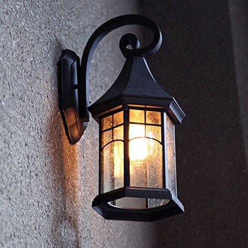 Modern LED Wandleuchte Vintage Retro Café Loft Bar Flurlampe. Retro outdoor wandleuchte wasserdicht outdoor gang garten lampe balkon treppe außenwand terrassenlampe, schwarz + 40 watt lampe - Bars Outdoor-wandleuchte