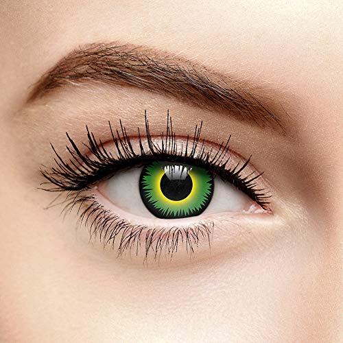 Chromaview Werewolf Halloween Farbige Kontaktlinsen Ohne Stärke Grün (Tageslinsen) (Kontaktlinsen Kosmetische Halloween)
