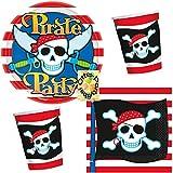 HHO Partyset Piraten für 16 Kinder 48 Teile Becher Teller Servietten