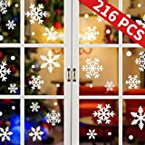 UMIPUBO Flocons de Neige Autocollants Noël Stickers Fenetre Amovibles Home Décoration Noël Stickers Muraux Autocollant Statique 216 Pcs (Blanc)