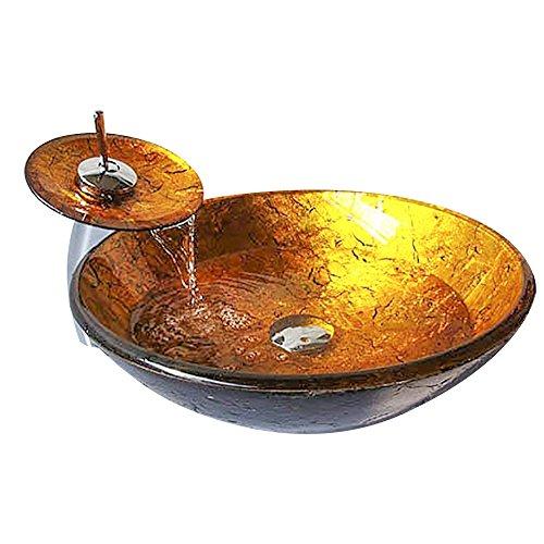 HomeLava Modern Waschbecken Set Rund Gold Gehärtetes Glas Aufsatz Waschschale mit Wasserfall Wasserhahn