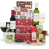 Weihnachtsgeschenkturm Böse & Brav – Weihnachtsgeschenkkorb- köstliche Lebensmittel und Getränke im Geschenkkorb für Weihnachten