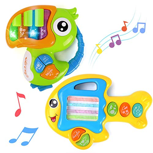 GILOBABY Baby Piano Toys for 12-18 Month+, 2Pcs Boy& Girl Piano Keyboard Toy, Musical Instrument for Children Infant Toddler, Kids Gifts Early Learning Education Toy 1 2 3 Year+, Light& Music