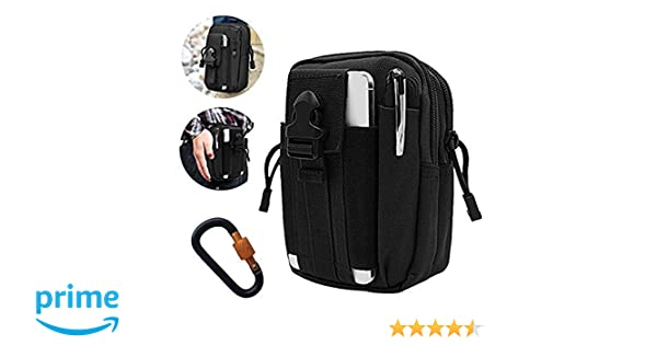 Hootracker Waterproof Tactical Waist Bag Tactical EDC Pouch Utility Gadget Belt Waist Bag with Cell Phone Holster for Sports Hiking Camping-Black