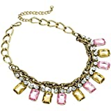 Ladies Burnished Gold Effect Rose And Topaz Crystal Colour Bead Chain Necklace