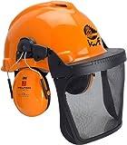 3M PELTOR Forsthelmkombination - Schutzhelm mit Gehörschutz / Gesichtsschutz / Kopfschutz - orange - Größe: universal
