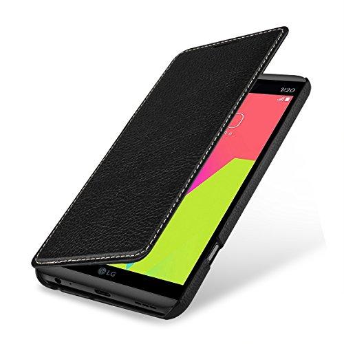 StilGut Book Type Case, Hülle Leder-Tasche für LG V20. Seitlich klappbares Flip-Case aus Echtleder für das Original LG V20, Schwarz