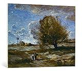 Kunst für Alle Reproduction sur Toile: Jean-Baptiste-Camille Corot Landschaft in der Picardie - Impression d'art de Haute qualité, Toile sur châssis, Tableau prêt à susprendre, 100x80 cm...