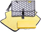 Nappy Changing Mat in Trendy Grey Polka Dot - Clutch Bag Design - Ideal for Cars Travel Supermarket and Park - Compact Folding Change Kit and Organiser with Waterproof Lining and Pockets - Ideal Baby Shower Gift