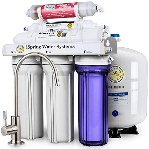iSpring 75GPD Sistema Filtrazione Acqua 6 Fasi a Osmosi Inversa Alcalina, Modello...