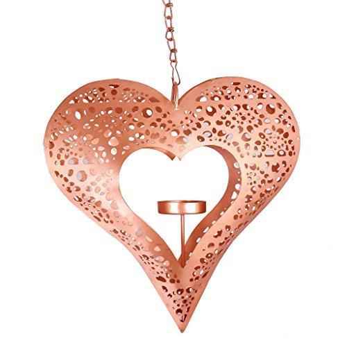 Dibor Ornate Ivory Hanging Heart Shaped Tealight Holder