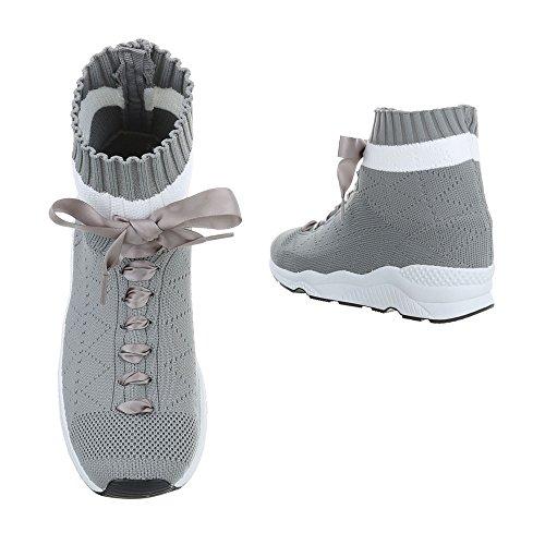 Ital-Design Sneakers High Damenschuhe Sneakers High Sneakers Schnürsenkel Freizeitschuhe Grau