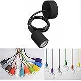 KingSo Lampenfassung, E27, für Hängeleuchte, Deckenhalterung für Leuchtmittel, aus Silikon, kabelgebunden, bunt, modern oder Retro schwarz