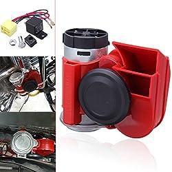 Iglobalbuy 12 V 136dB Bocina Claxon Compresor Kit Compacto Dos Tonos Motocicleta Coche Camión Tren SUV Barco