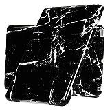 Coque pour iPad Mini 1/2/3, Etui Tablette Silicone Marbre TPU IMD Anti-rayures Antichoc Cadre Caméra Protecteur Coloré Housse Nouveau - Blanc Noir