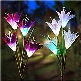 JAYE Solar Garden Lights Outdoor-2 Pack Solar Powered Garden Stake Lights mit 8 Lily Flower, Multi-Color-Wechsel LED-Solar-Stake-Leuchten für Garten, Patio, Hinterhof (Lila und Weiß)