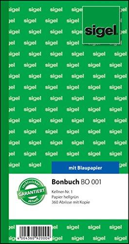 Sigel BO001 Bonbuch, 360 Abrisse, Kellner-Nr. 1, hellgrün, 10,5 x 20 cm, 2x60 Blatt