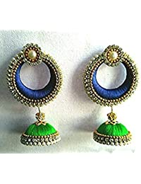 Ailsie Stylish Fashion Silk Thread Traditional Jhumka Earring With White Stone Gold Beeds Chain Parrot Green/Dark...