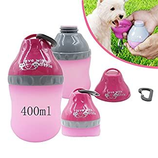 Baby Pet® Lightweight Portable Soft Silicone Folded Collapsible Water Feeder Pet Bottle Kettle Bowl with Carabiner Clip for Dog,Cat ,Puppy ,Kitten ( 51MILVmjAfL