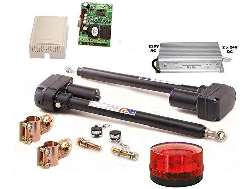 automatisch gesteuerts 2-flügeliges Tor mit 2 Kanal Steuerung inkl. Lampe 24V