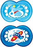 MAM 706011 Original Silicone Pack of 2 Soothers for Boys 16 Months Upwards Sorted by Colour / Motif BPA Free