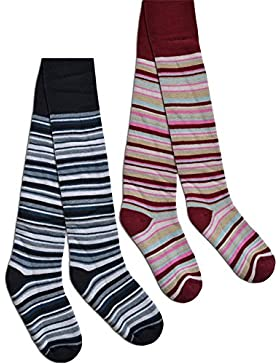 normani 2 Paar warme Kinder Thermo Strumpfhosen mit Verschiedenen Motiven für kalte Wintertage (Thermostrupfhose)