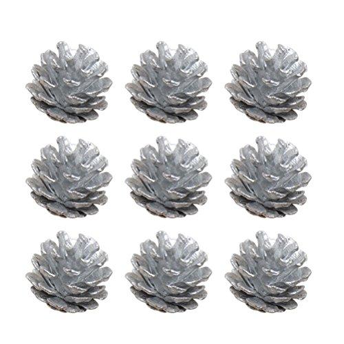 TOYMYTOY Tannenzapfen Naturzapfen Kiefernzapfen mit String Adventsdeko Weihnachten Hängende Deko 4cm 9 Stück (Silber)