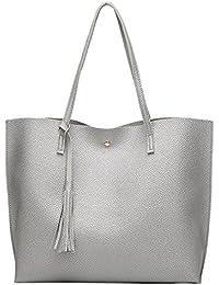 PB-SOAR Damen Mädchen Fashion Shopper Schultertasche Schulterbeutel Henkeltasche Handtasche Einkaufstasche aus Kunstleder 36x30x11cm (B x H x T)