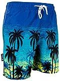 Luvanni Herren Badeshorts Beachshorts Boardshorts Badehose Schwimmhose Männer mit Muster Blautöne Palmen Beach Sonnenuntergang Print* Blau Schwarz XXXL