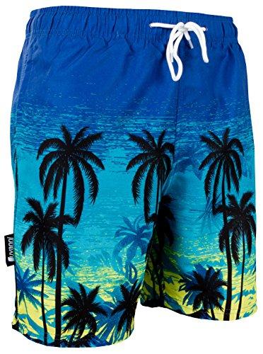 Luvanni Herren Badeshorts Beachshorts Boardshorts Badehose Schwimmhose Männer mit Muster Blautöne Palmen Beach Sonnenuntergang *High Quality Print* Blau Schwarz XXXL