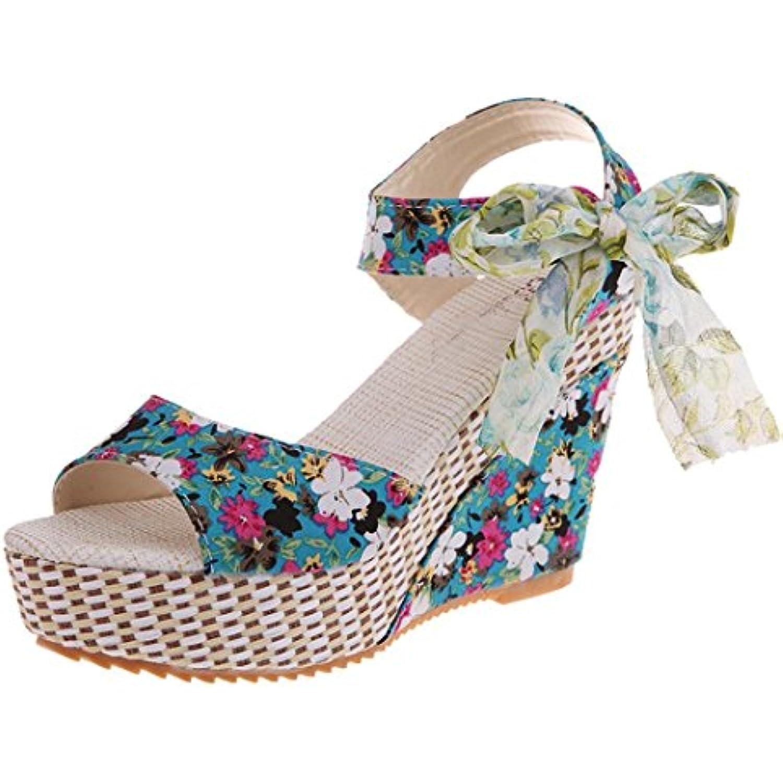 LUCKYCAT Amazon,  s d'été à Femme Chaussures de Été  s à d'été Talons Chaussures Plates Impression Florale... - B07D8NHSRG - b76234