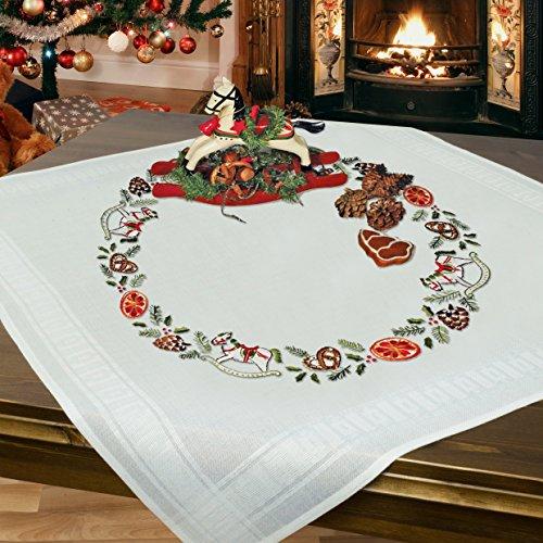 Stickpackung SCHAUKELPFERD / Komplettes Vorgezeichnetes Tischdecken Set zum Sticken / Winter Stickset mit Stickvorlage für Erwachsene / Sticken zur Adventszeit und Weihnachten