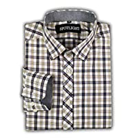 Men's Slim-Fit Long-Sleeve Plaid Shirt (Yellow/Black, Medium)