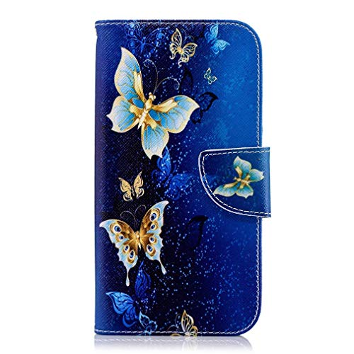 Kompatibel mit Handyhülle Huawei P20 Handy Schutzhülle Brieftasche Lederhülle Niedlich Muster Ledertasche Leder Handytasche Flip Cover mit Magnetverschluss,Gold Schmetterling