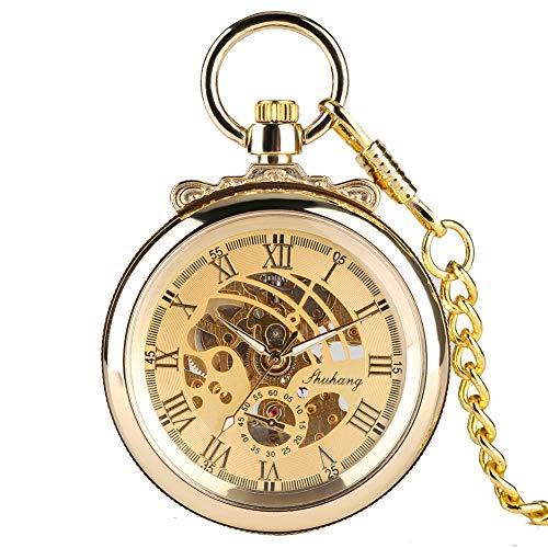 Mechanische Core Taschenuhr für Jungen, goldene Klassische Taschenuhren für Jungen, ohne Deckel, Rom Digital, Taschenuhr