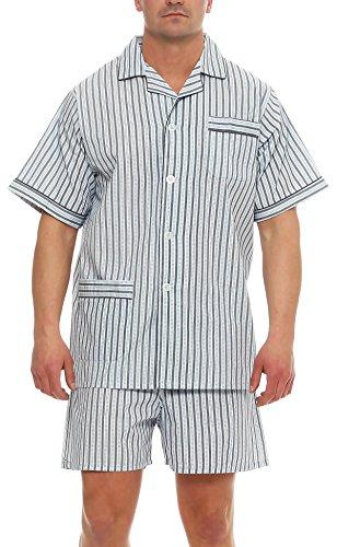 cocain Klassischer Pyjama Kurzarm Schlafanzug Batist Knopfleiste Marke (Gr. 48, grau gestreift)