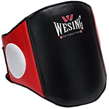 Belly Pad pecho guardia boxeo protector de cuerpo artes marciales Rib Shield Armour Taekwondo formación por wesing, black red pu