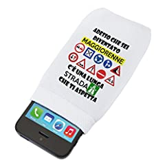 Idea Regalo - Custodia morbida protettiva per smartphone Adesso che sei diventato maggiorenne c'è una lunga strada che ti aspetta - 18 anni - idea regalo - in cotone dimensioni: 14 x 8 cm