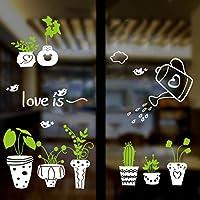 Pegatina para ventana escaparate comercio floristerias macetas y plantas de OPEN BUY