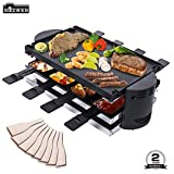 B-ZWEB Raclette Grill for 8 Person Electric Indoor BBQ Party Cooking Grills Non-Stick