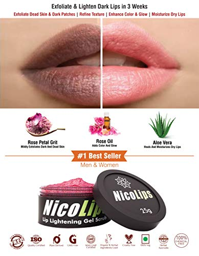 NicoLips Lip Scrub for Lightening Dark Lips | 25 grams | Unisex | Nicotine/Shisha Marks | Dry Lips | Rose | Aloe Vera | Natural | Chemical Free | by Bella Vita Organic